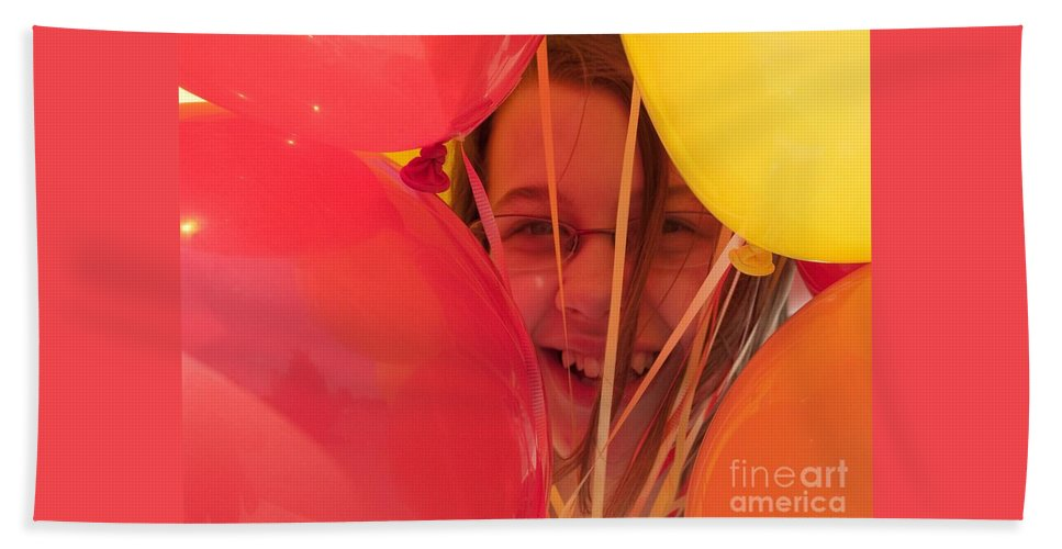 Balloons Bath Sheet featuring the photograph Celebrating by Ann Horn