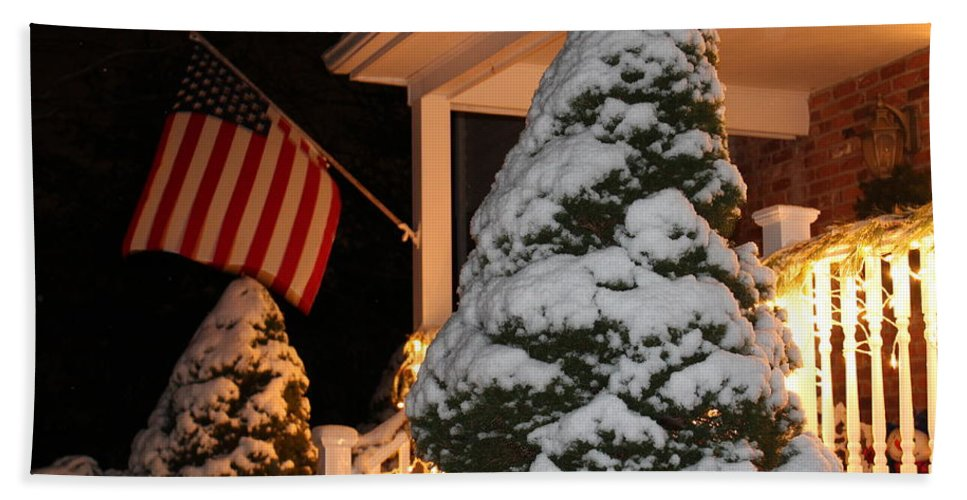 Christmas Snow Fall Hand Towel featuring the photograph Celebrating The Season by Catie Canetti