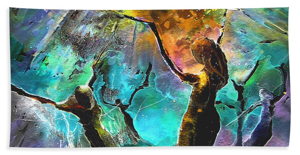 Miki Hand Towel featuring the painting Celebration of Life by Miki De Goodaboom