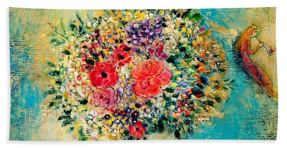 Flower Bath Sheet featuring the painting Celebration by Shijun Munns