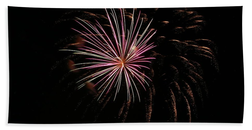 Fireworks Bath Sheet featuring the photograph Celebration Xxxvi by Pablo Rosales