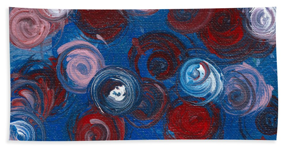 Roses Hand Towel featuring the painting Celestial Bouquet by Alys Caviness-Gober