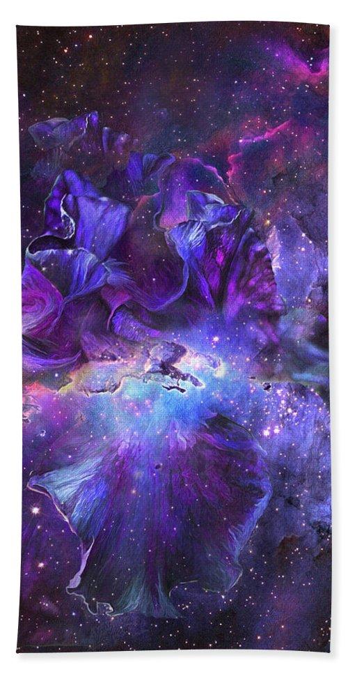 Iris Hand Towel featuring the mixed media Celestial Goddess by Carol Cavalaris