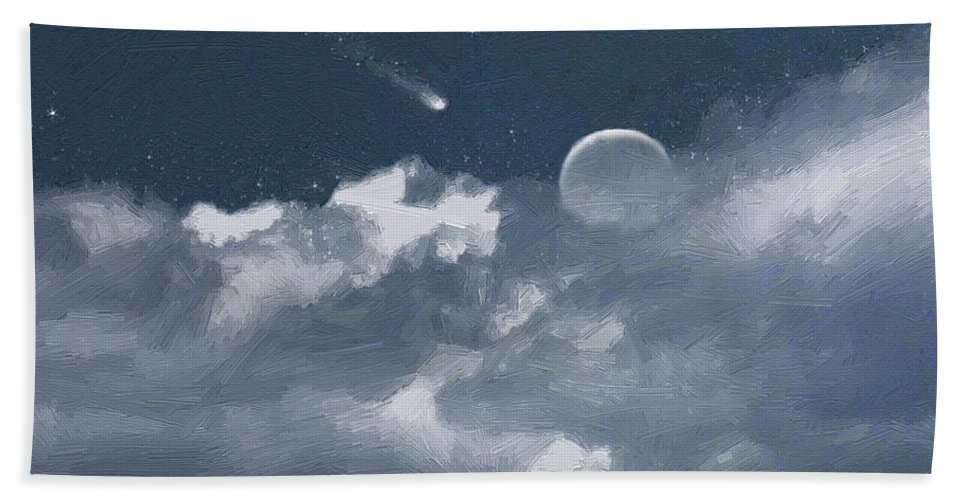 Clouds Hand Towel featuring the painting Celestial Night by RC DeWinter