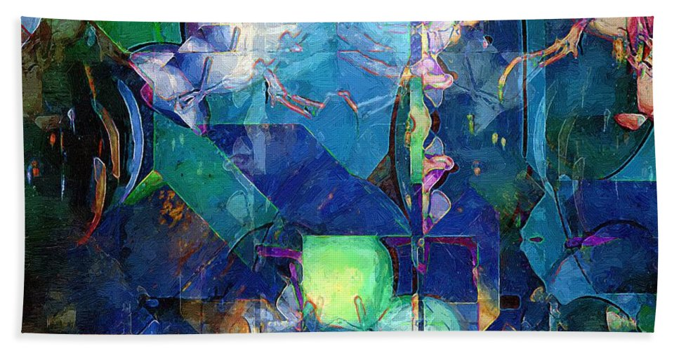 Abstract Bath Sheet featuring the painting Celestial Sea by RC DeWinter