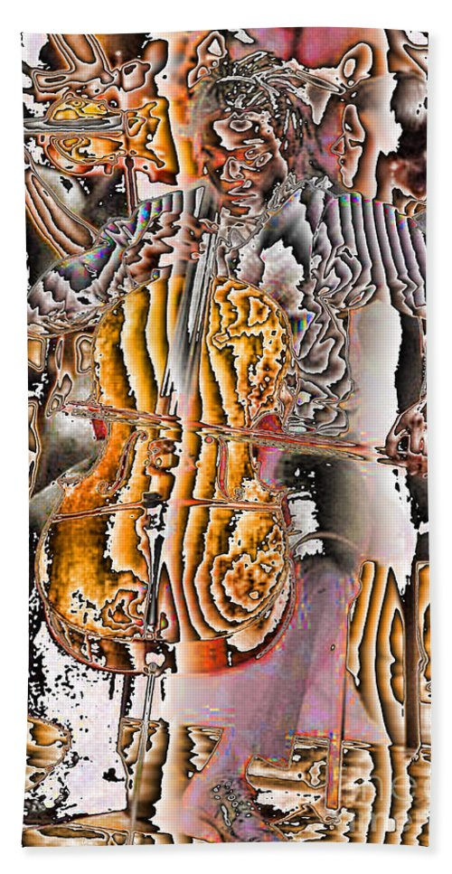 Abstract Hand Towel featuring the digital art Cello Man by Jack Bowman