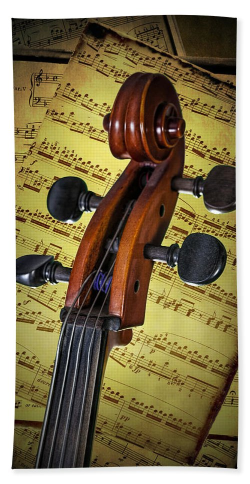 Cello Hand Towel featuring the photograph Cello Scroll With Sheet Music by Randall Nyhof