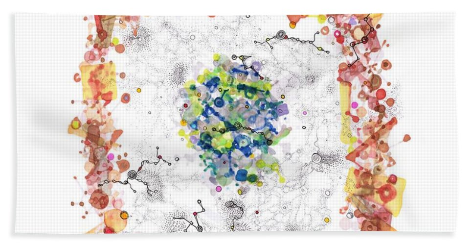 Cell Bath Sheet featuring the drawing Cellular Generation by Regina Valluzzi