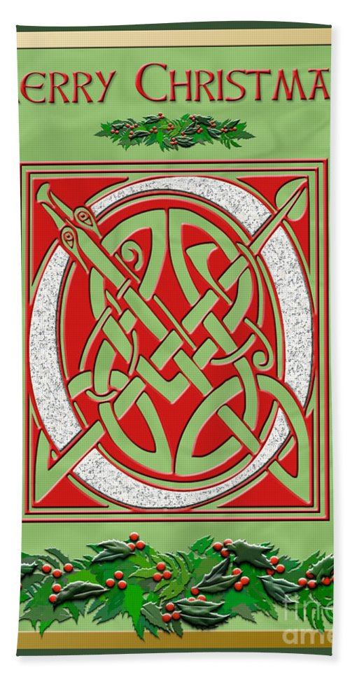 A Beautiful Illuminated Celtic Script Letter For Everyone On Your Christmas Card List. A Granite Letter Is In A Festive Red Background With Holly Decorations On A Pale Green Satin Background. A Gold Foil Border Adds Elegance. Bath Sheet featuring the digital art Celtic Christimas O Initial by Melissa A Benson