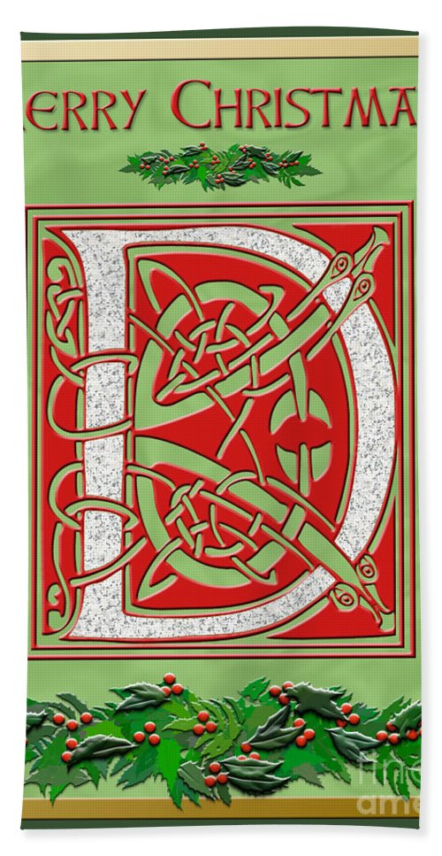 Monogram Bath Sheet featuring the digital art Celtic Christmas D Initial by Melissa A Benson