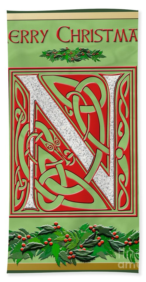 Monogram Bath Sheet featuring the digital art Celtic Christmas N Initial by Melissa A Benson