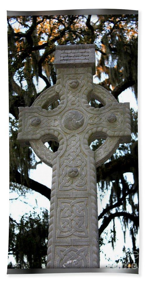 Savannah Bath Sheet featuring the photograph Celtic Cross In Savannah by Carol Groenen