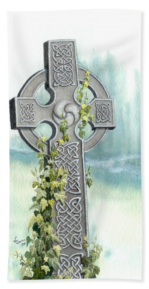 Celtic Cross Bath Towel featuring the painting Celtic Cross With Ivy II by Lynn Quinn