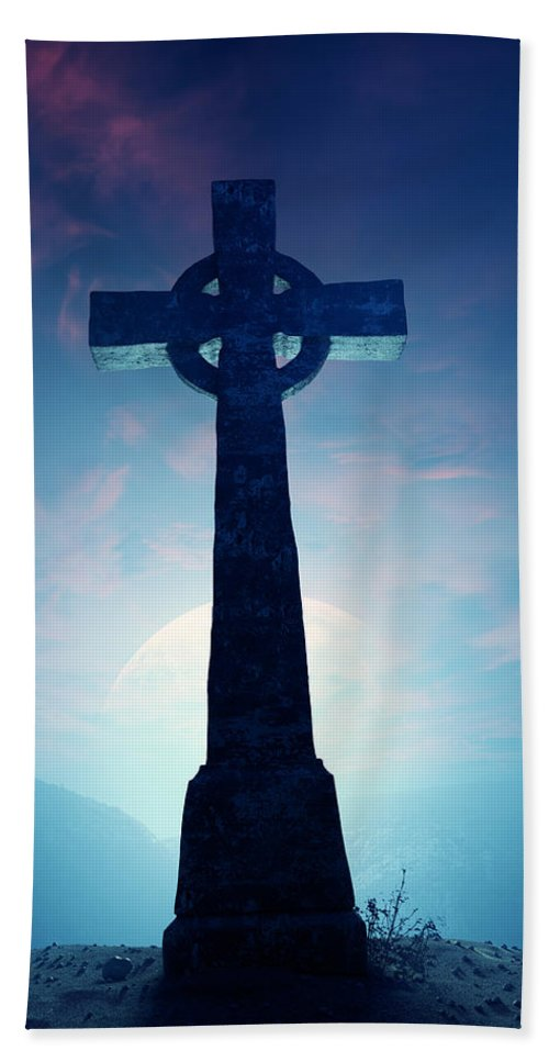 Cross Bath Sheet featuring the photograph Celtic Cross With Moon by Johan Swanepoel