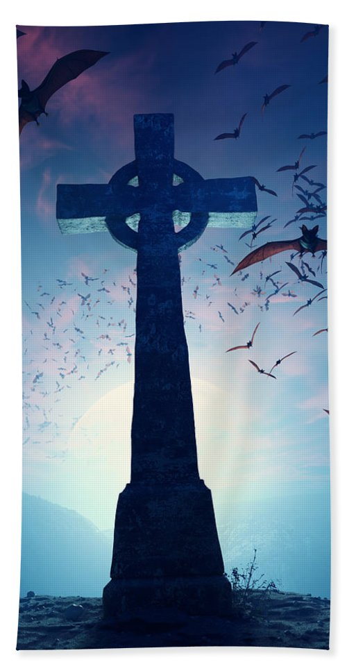 Cross Bath Towel featuring the photograph Celtic Cross With Swarm Of Bats by Johan Swanepoel