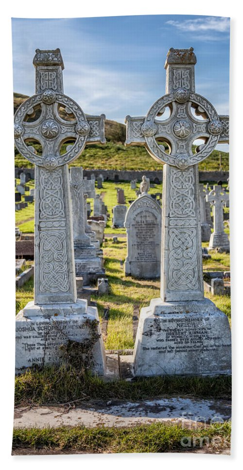 Hdr Hand Towel featuring the photograph Celtic Crosses by Adrian Evans