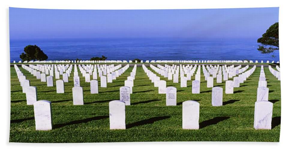 Photography Bath Sheet featuring the photograph Cemetery At Waterfront, Fort Rosecrans by Panoramic Images
