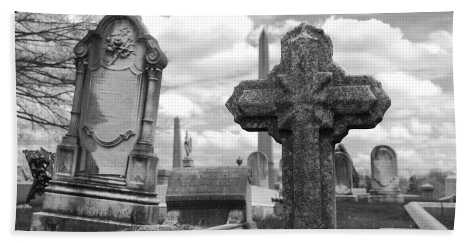 Cemetery Bath Sheet featuring the photograph Cemetery Graves by Jennifer Ancker