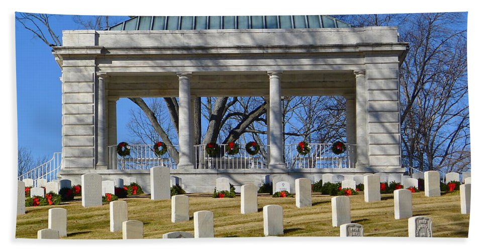 Cemetery Hand Towel featuring the photograph Cemetery In Marietta by Denise Mazzocco