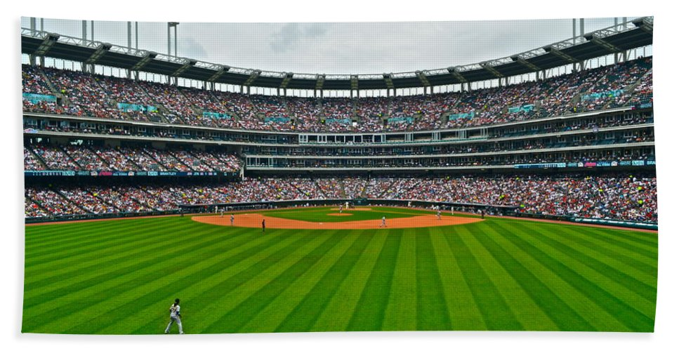 Centerfield Bath Sheet featuring the photograph Center Field by Frozen in Time Fine Art Photography