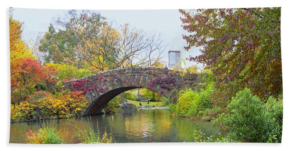 Central Park Autumn Bath Sheet featuring the photograph Central Park Gapstow Bridge Autumn II by Regina Geoghan