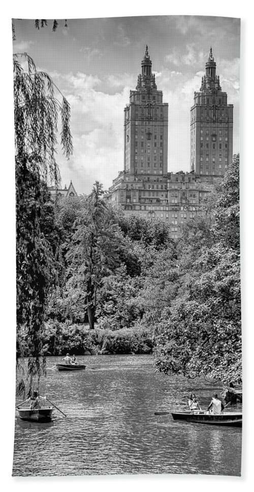 Central Park New York City Black White Boating Leisure Gray Grays Water Stone Cityscape Trees Photography Bath Sheet featuring the photograph Central Park by Paul Watkins