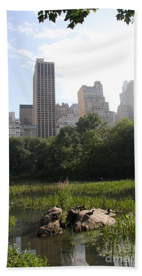 Skyline Bath Sheet featuring the photograph Central Park Pond And Skyline by Christiane Schulze Art And Photography