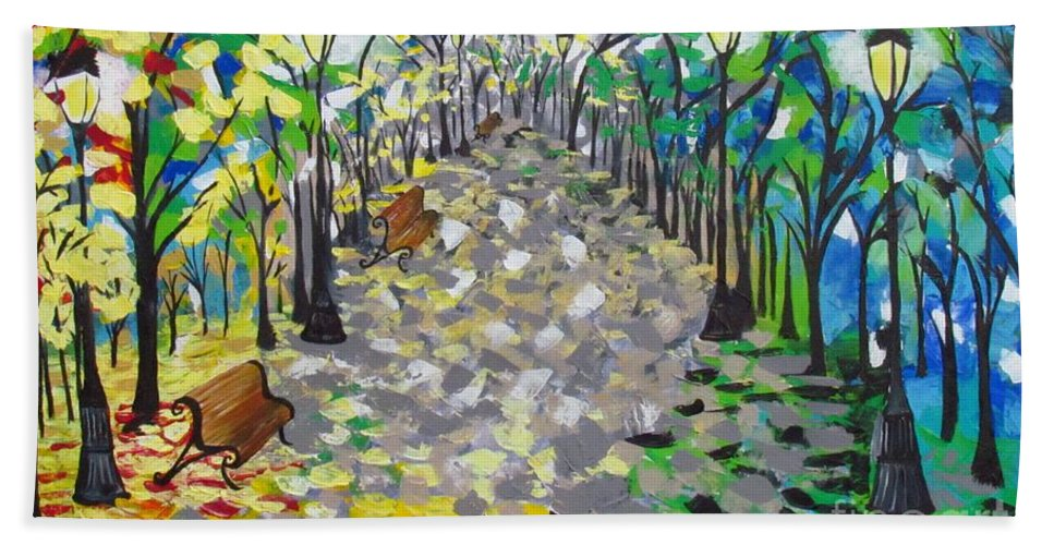 Central Park Hand Towel featuring the painting Central Park Serenity by Mandy Joy