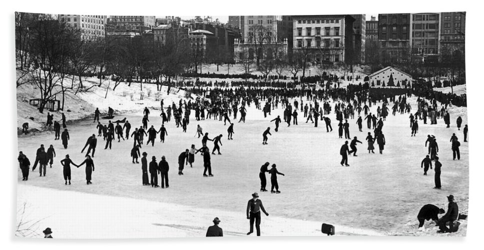 1938 Hand Towel featuring the photograph Central Park Winter Carnival by Underwood Archives