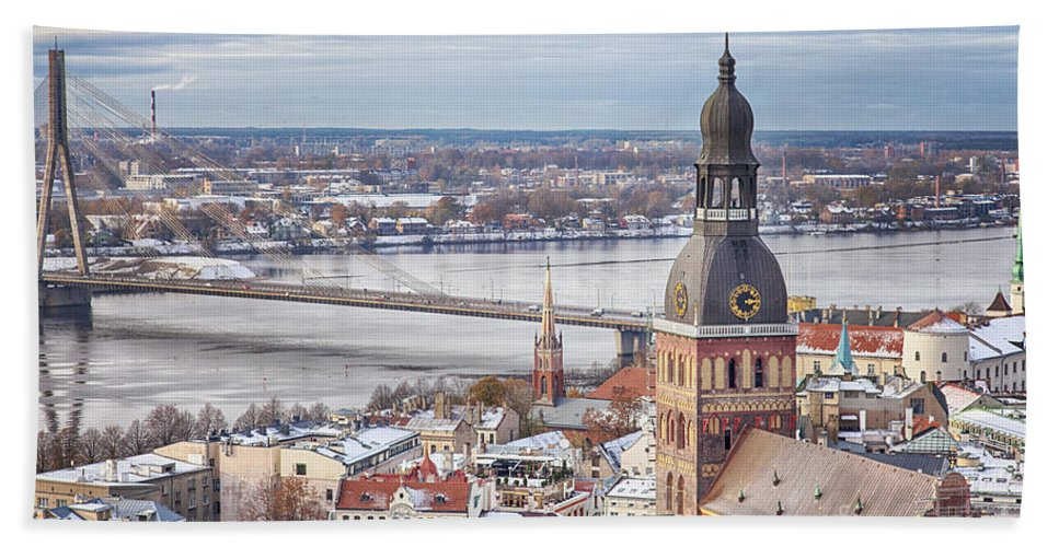 Scandinavia Hand Towel featuring the photograph Central Riga by Sophie McAulay