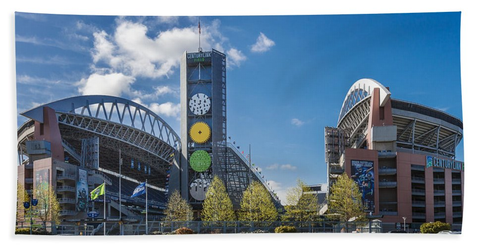 Century Link Field Bath Sheet featuring the photograph Century Link Field by Mike Penney