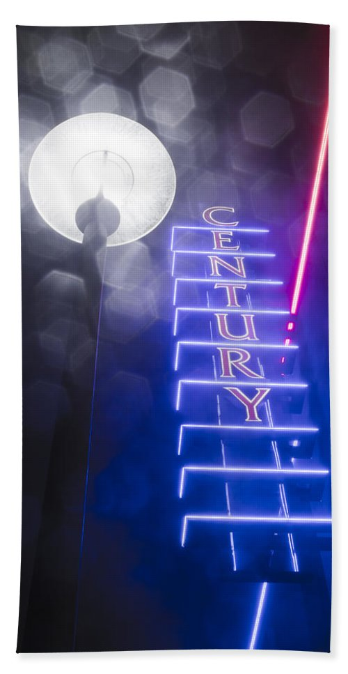 Century Bath Sheet featuring the photograph Century Neon by Bryant Coffey