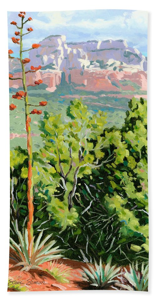 Century Plant Hand Towel featuring the painting Century Plant - Sedona by Steve Simon