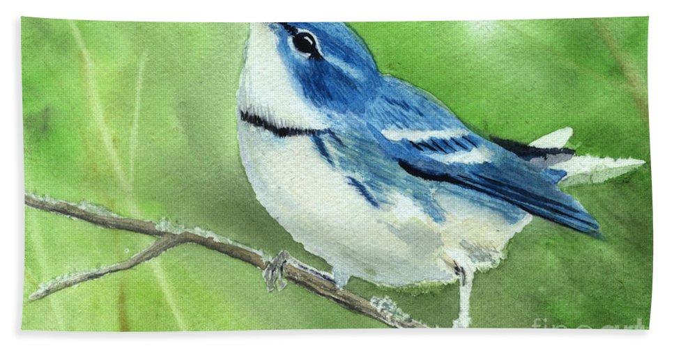 Bird Bath Towel featuring the painting Cerulean Warbler by Lynn Quinn