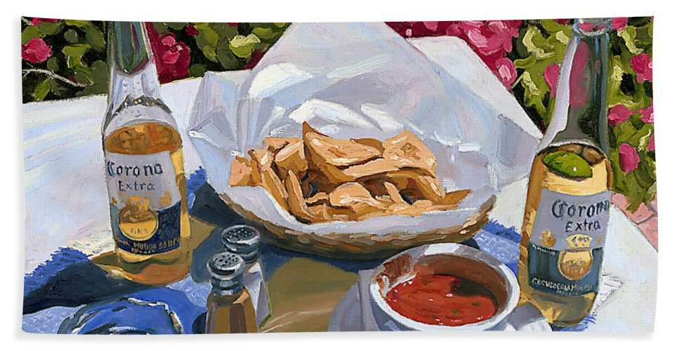 Beer Bath Sheet featuring the painting Cervezas Y Nachos - Coronas With Nachos by Steve Simon