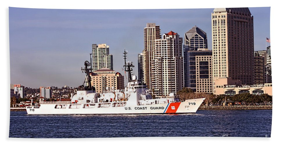 United States Coast Guard Bath Sheet featuring the photograph Cgc Boutwell - 719 by Tommy Anderson