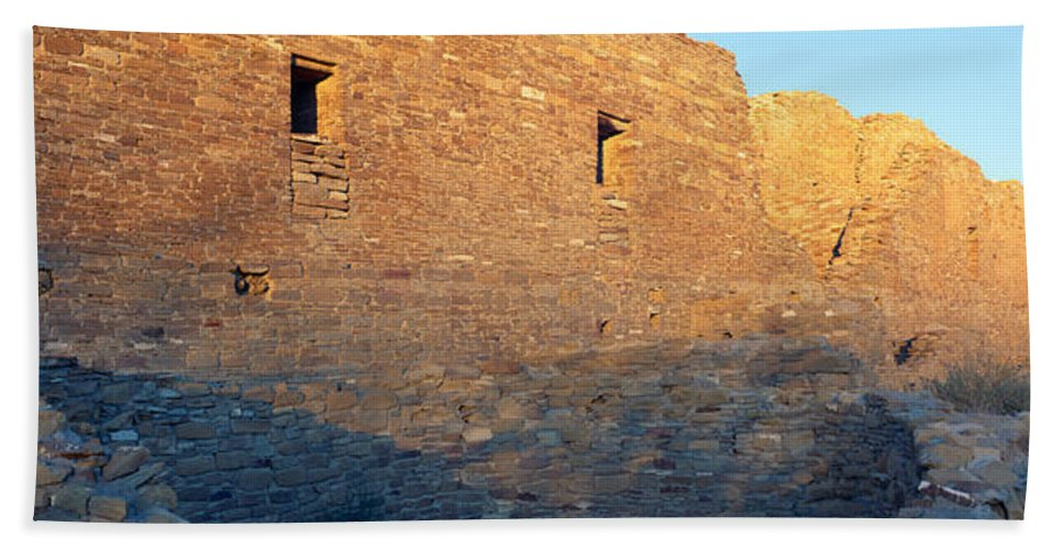 Photography Hand Towel featuring the photograph Chaco Canyon Indian Ruins, Sunset, New by Panoramic Images