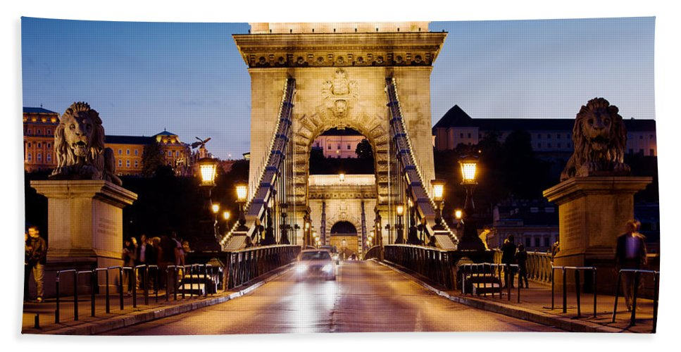 Budapest Bath Sheet featuring the photograph Chain Bridge In Budapest At Night by Artur Bogacki
