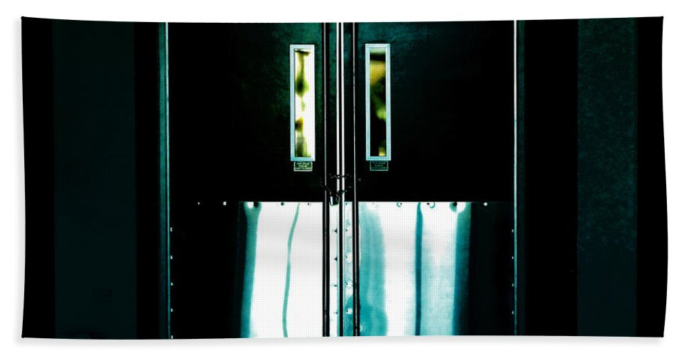 Door Hand Towel featuring the photograph Chained Shut by Steve Taylor