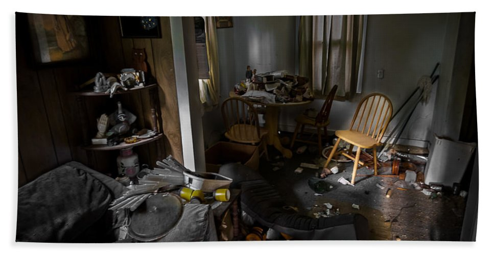 Abandoned Hand Towel featuring the photograph Chair At The Table Two by Ken Frischkorn