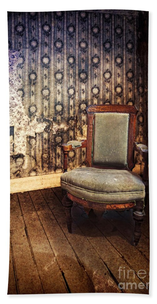 Chair Hand Towel featuring the photograph Chair In Abandoned Room by Jill Battaglia