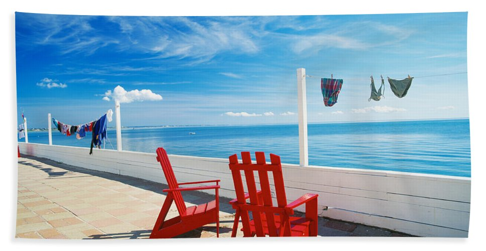 Photography Bath Sheet featuring the photograph Chairs Cape Cod Ma by Panoramic Images