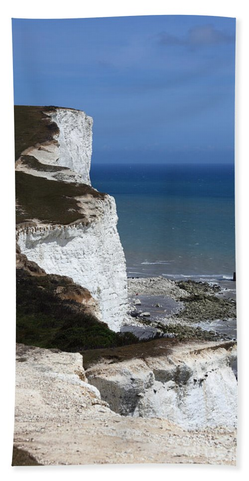 England Hand Towel featuring the photograph Chalk Headlands Near Beachy Head Esat Sussex by James Brunker