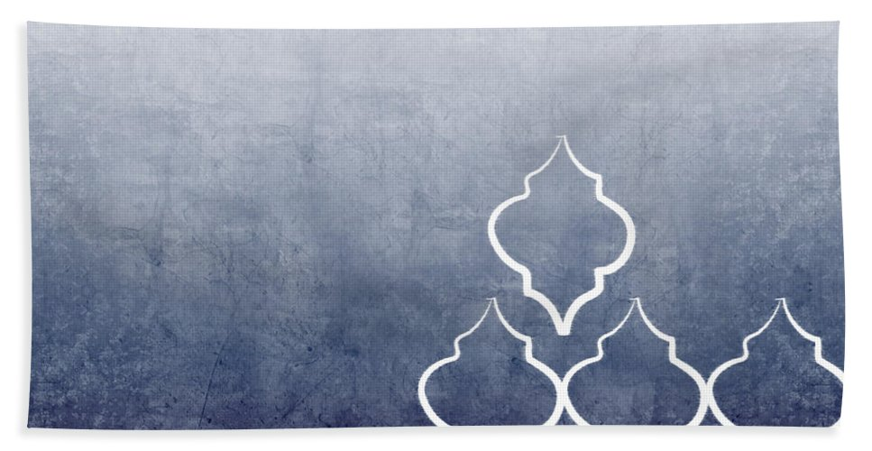 Abstract Bath Towel featuring the mixed media Chambray Ombre by Linda Woods