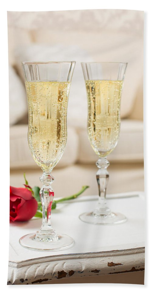 Valentine Hand Towel featuring the photograph Champagne And Rose by Amanda Elwell