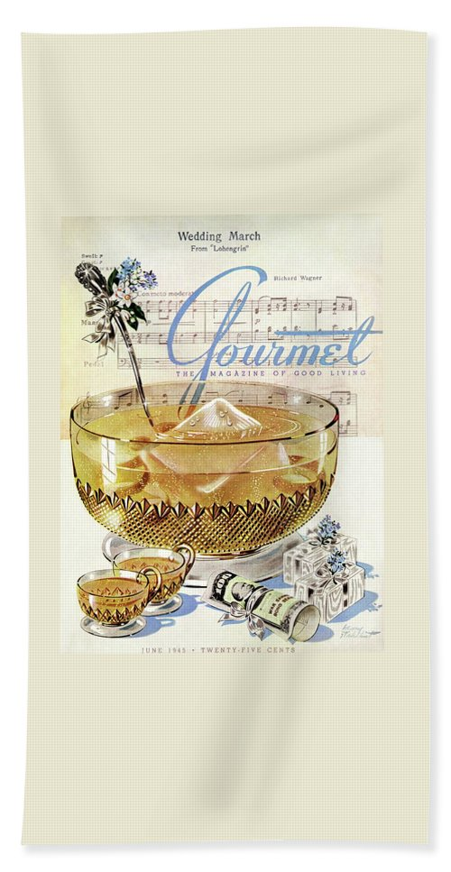 Illustration Bath Towel featuring the photograph Champagne Punch And The Wedding March by Henry Stahlhut