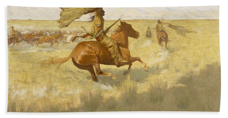 Frederic Remington Bath Sheet featuring the painting Change Of Ownership by Frederic Remington