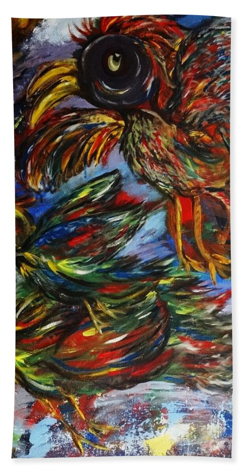 Birds Bath Sheet featuring the painting Chaos In Flight by Liz Pritchett