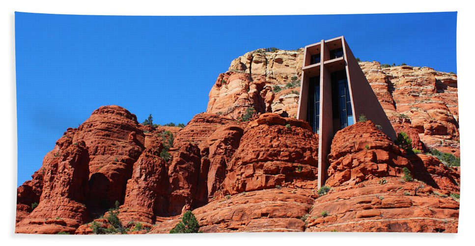 Sedona Hand Towel featuring the photograph Chapel Of The Holy Cross Sedona by Laurie Larson