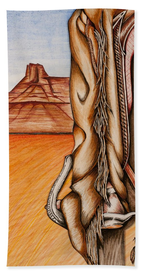 Desert Hand Towel featuring the mixed media Chaps by Kem Himelright